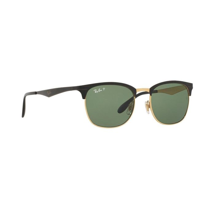 Sale on Ray-Ban ClubMaster RB 3538 187 9A Polarized Black Gold Grey ... aa0ad8ff79a2