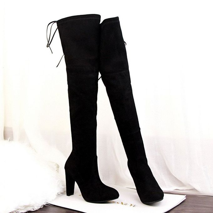 269ad699bb2 ... Winter Womens Suede Sexy Over The Knee Thigh High Long Boots Heels  Party Shoes Black ...