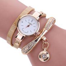 Hiamok_Women Leather Rhinestone Analog Quartz Wrist Watches BG