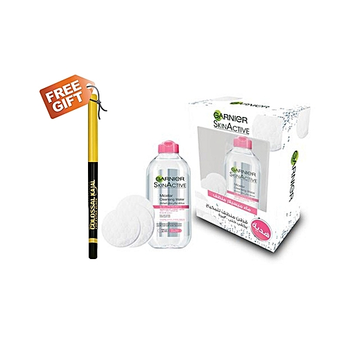 Garnier Cleansing Water - 400ml + Free Cotton Makeup