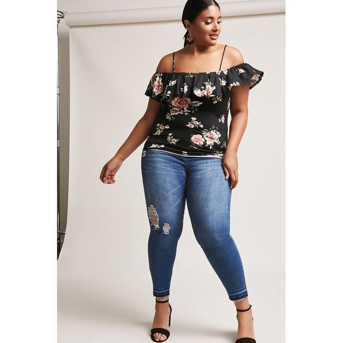 Plus Size Open-Shoulder Floral Top