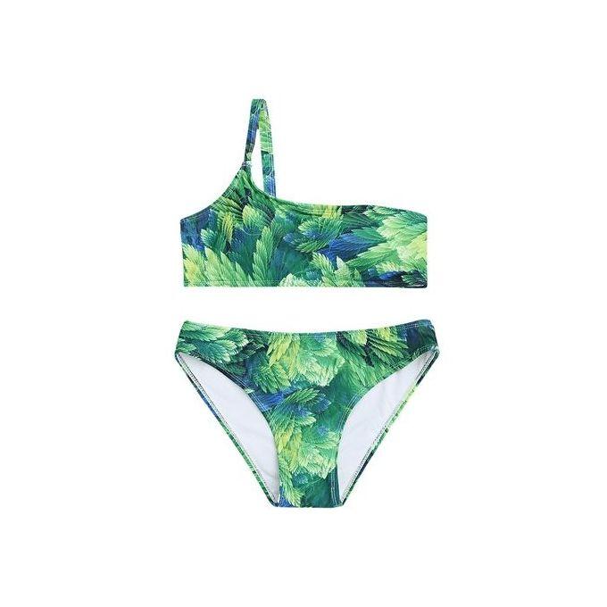 99fd19b53 Sale on One Shoulder Leaf Print Bikini Set