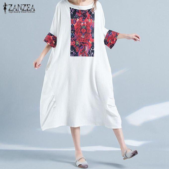 0c7db9a0f4a0 ZANZEA Women Batwing Short Sleeve Printed Baggy Loose Oversized Long Maxi  Dress WhiteWhite
