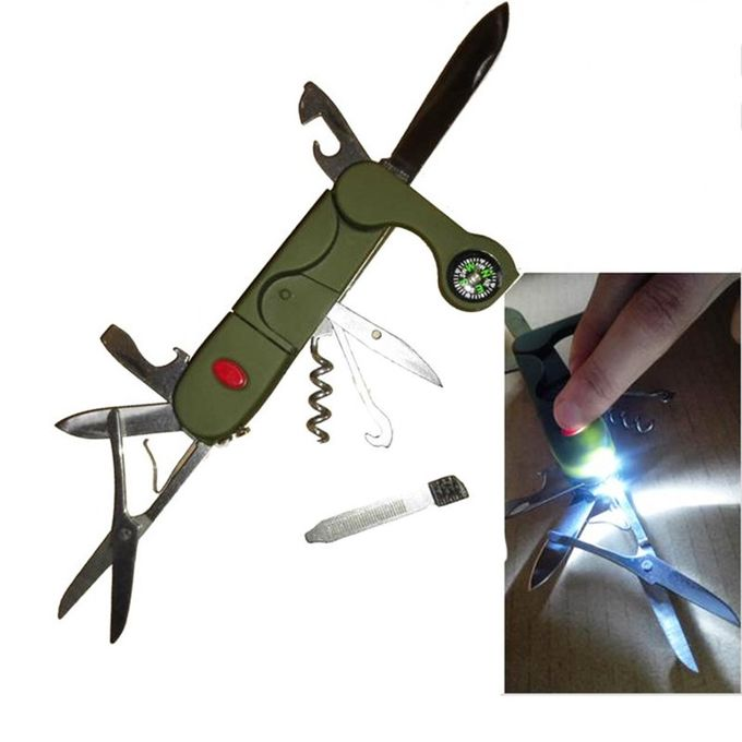 13-in-1 Portable Multifunctional Camping Tool With LED Light – Green –  مصر