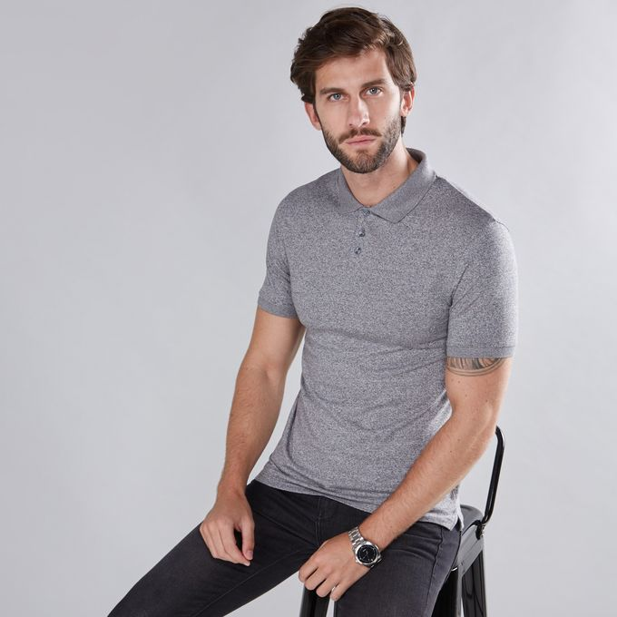 26d5c1f6 Men Grindle Printed T-Shirt With Polo Neck And Short Sleeves - MEDIUM GREY