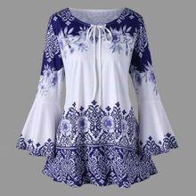 92c0c4bbd6ba2 Xiuxingzi Fashion Womens Plus Size Printed Flare Sleeve Tops Blouses  Keyhole T-Shirts