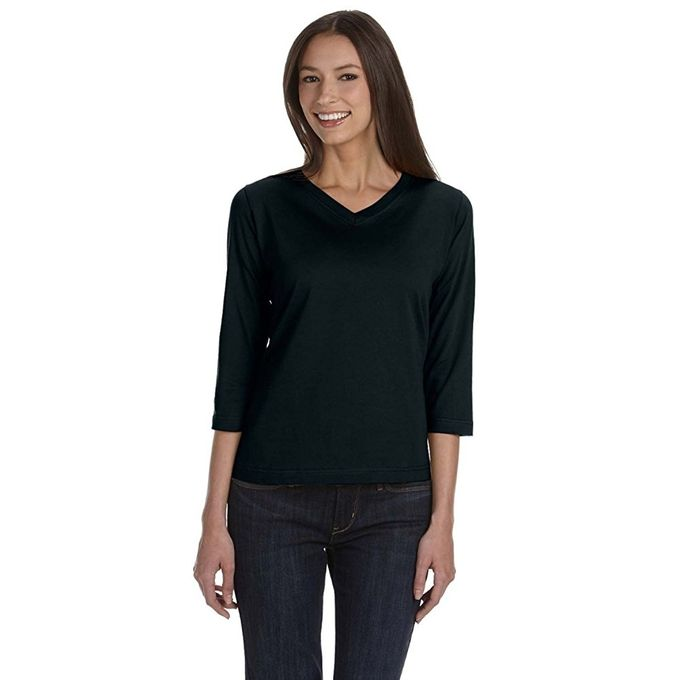 Sportswear Womens Ringspun V-Neck 3/4 Sleeve T-Shirt [Black, X-Large]