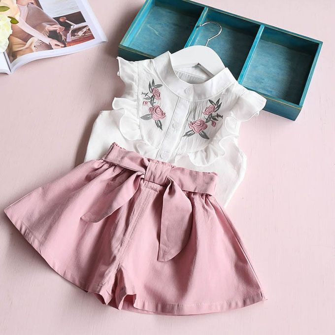 Toddler Kid Baby Girl Clothes Floral Embroidery Shirt Tops+Belt Pants Outfit Set