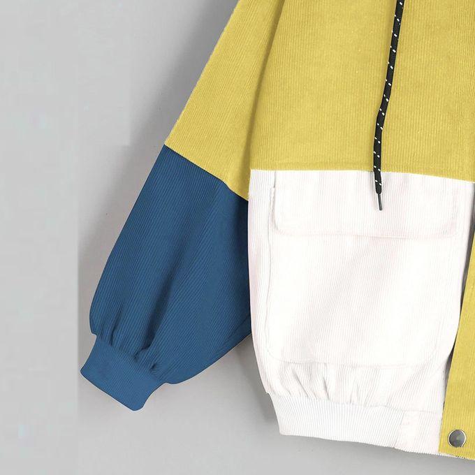 03f021bd44 ... Africashop Caot Women Long Sleeve Corduroy Patchwork Oversize Jacket  Windbreaker Coat Overcoat ...