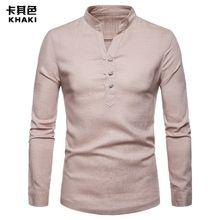 44495627d4839 جودة عالية بلون الرجال قميص الكتان هنري الياقة حجم كبير لون خالص كم طويل  القميص عادية
