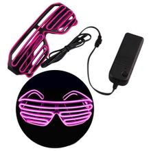 153beea58 Flashing EL Wire Glasses Light Up Glowing Halloween Party Rave Costume-Pink