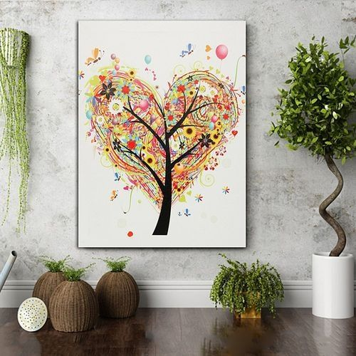 Xmas Tree Painting LED Light Framed Wall Art Canvas Picture Print Room Decor