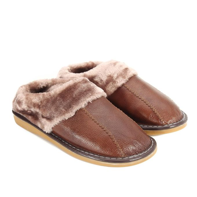 ec3dc31767e Winter Warm Fuzzy Cow Leather House Slippers For Men Fleece Lined Home Shoes -EU