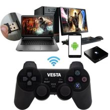 2.4Ghz Wireless Vibration Joystick Game Controller - Black + Free Webcam With Mic