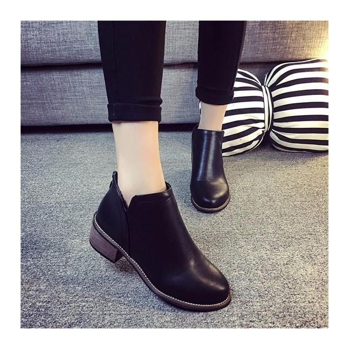 b43dc4f944f Classic Womens Ladies Short Boots Shoes Ankle Boots Zipper Thick Heel Shoes  Hot Black