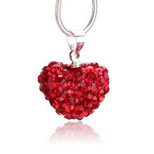 c02e8372001 Fashion Women Crystal Pendant Jewelry Heart 925 Sterling Silver  Necklace+Chain Red