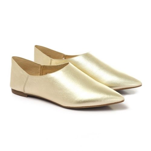 Leather Slip On Chic Loafers - Gold