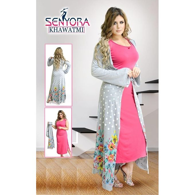 Sale on Generic Flowers Polka Dots Night Gown & Robe Set - Grey ...