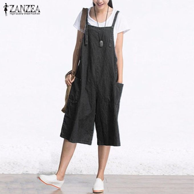 ab0c586ae1e ZANZEA Rompers Womens Jumpsuit Summer Autumn Sleeveless Fashion Wide Leg  Pants Denim Calf Length Vintage Overalls