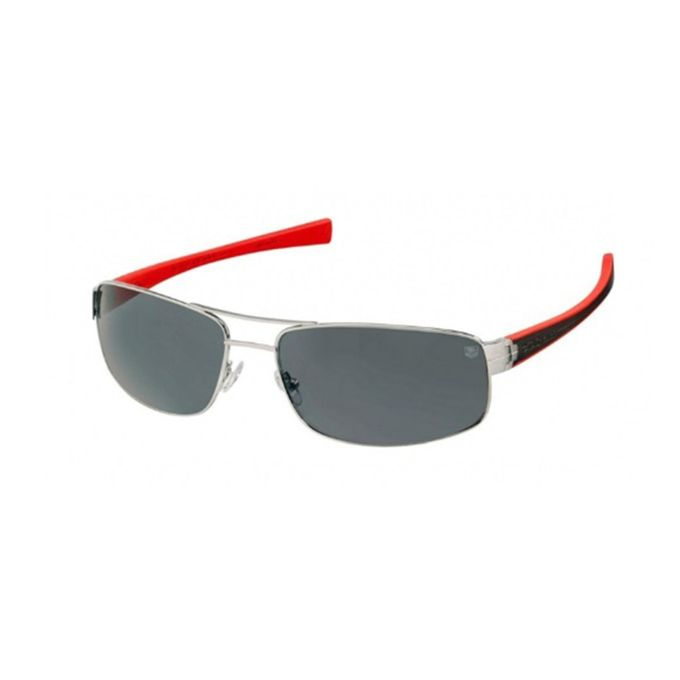 fe77cb67c4 Tag Heuer Sunglasses Outdoor Silver Metal Front Square Shape   Black   Red  Rubber Temple With