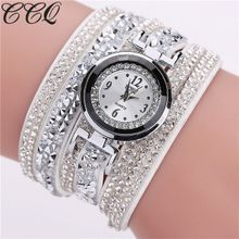 c66ad3786 CCQ Women Fashion Casual Analog Quartz Women Rhinestone Watch Bracelet Watch  Artificical