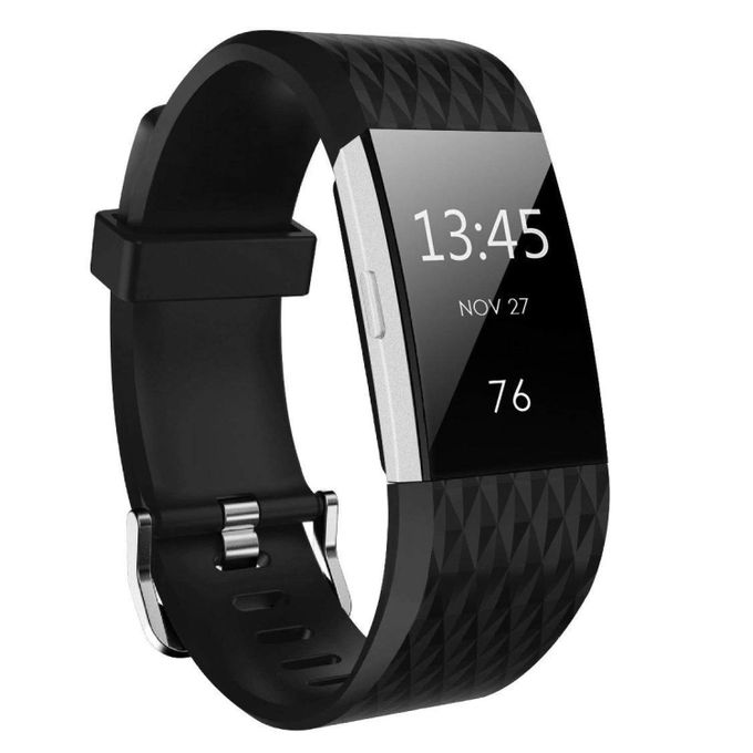 Fitbit Charge 2 (Large Size) Replacement Band (Free Get One Black)  Diamond-shaped Texture Soft Silicone Replacement Sport Strap Band For  Fitbit