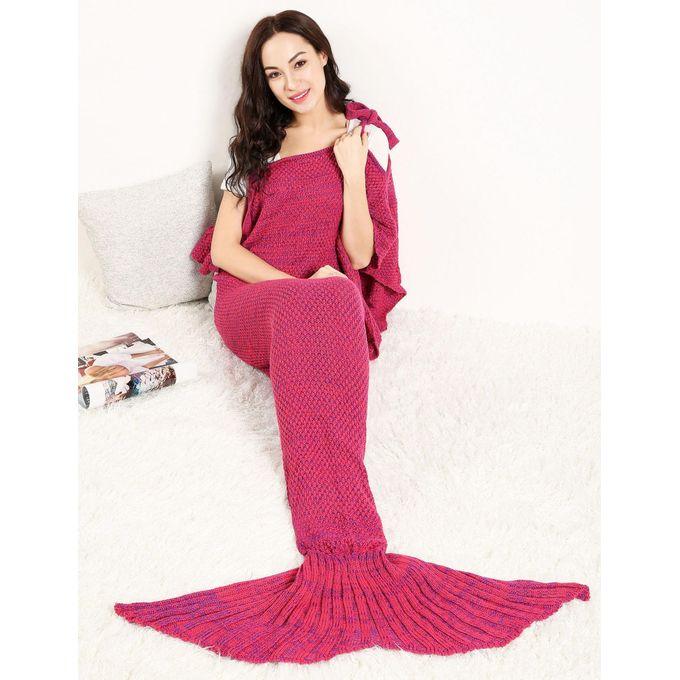 Adult Handmade Knitted Crochet Wearable Mermaid Tail Shape Blanket Sleeping Sofa Blanket 7 Colors –  مصر