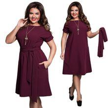 049430ec0d99 O-neck A-line Dress Short Sleeve Vintage Belted Knee Length Dress