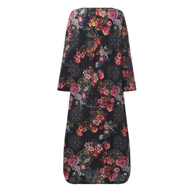 ... ZANZEA Women Maxi Long Dress Vintage Floral Print Dresses Batwing Long Sleeve Pockets Casual Loose Vestidos