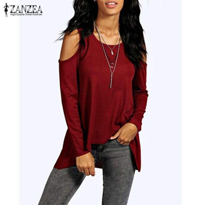 3090c98f319 ZANZEA Summer Women Off Shoulder Casual O-Neck Long Sleeve Plus Size Blusas Tops  Blouses