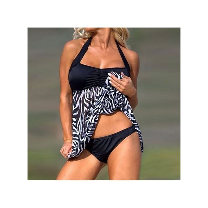 3dc5eb6734 Fovibery Plus Size Women Push-up Swim Dress Tankini Sets Two Piece Swimsuit  Bikini