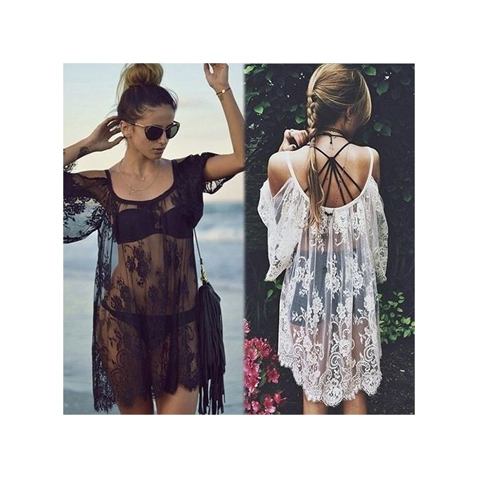 8835ffb94e Women Summer Beach Sexy Boho Off Shoulder Floral Lace Hollow Top Cover Up- White