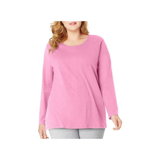 Just My Size Plus-Size Womens Long-Sleeve Scoopneck Tee