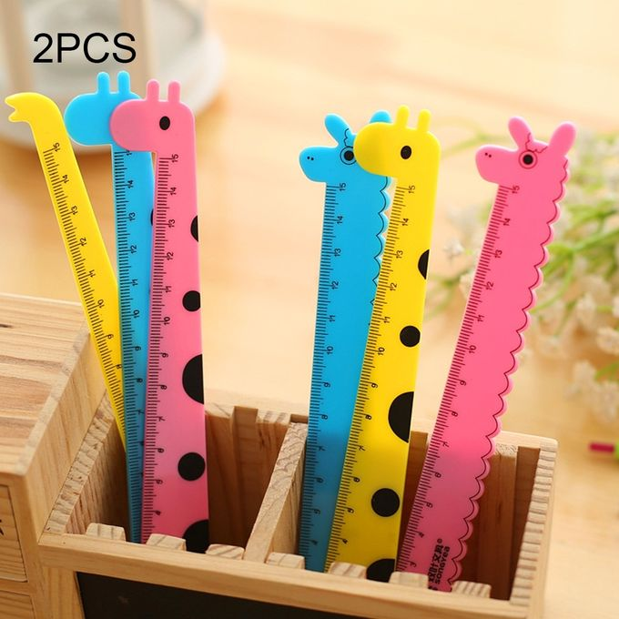 2 PCS Creative Stationery Cartoon Cute Giraffe Office School Student Measuring Tools Stationery Ruler, Random Color Delivery –  مصر