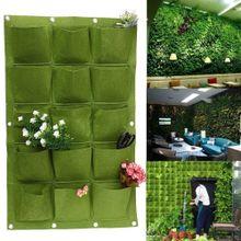 15 Pocket Wall Hanging Garden Planter Bag Indoor Outdoor Vertical Herb Pot  Green