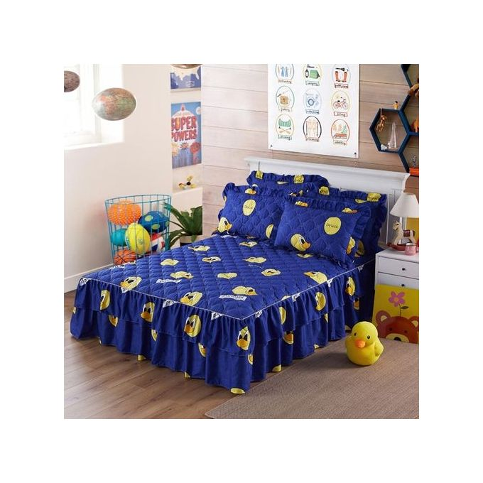 Graceful Quilted Thickened Bedspread Laced Fitted Sheet Two-Layer Bed Cover Wedding Housewarming Gift Style:Cute Duck Dimensions:180 * 220cm Single-piece Cotton Bed Skirt –  مصر