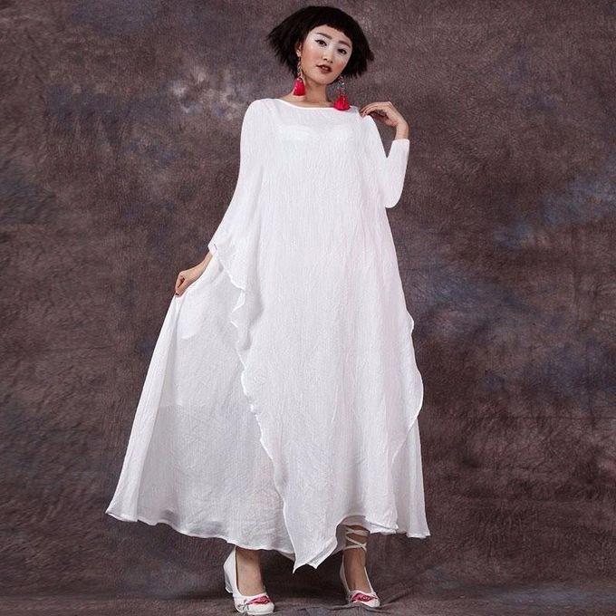 6a4e18b931b Celmia Womens Vintage Crew Neck Long Sleeve Shirred Plain Loose Casual Kaftan  Maxi Swing Dress Off