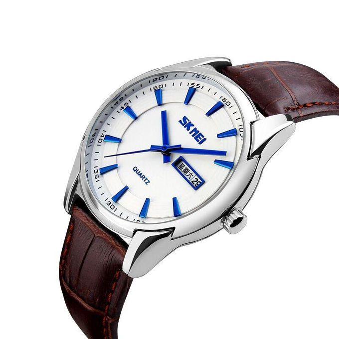 a5379e5feebe5 ... 9125 رجل كوارتز ساعة اليد الفاخرة للماء حزام جلد أزياء الرجال  الساعات-أسود ...