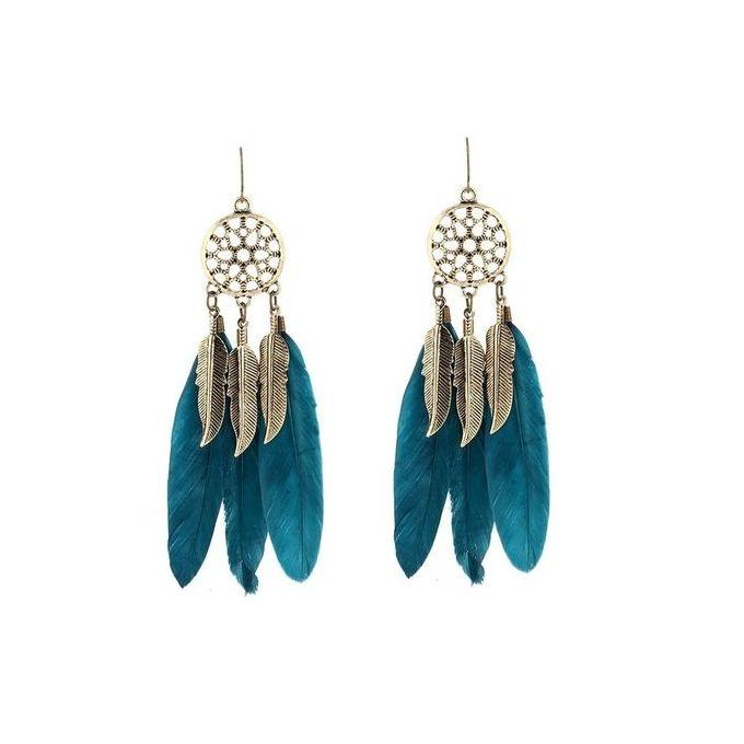 Dream Catcher Feather Dangle Earrings For Women S Blue