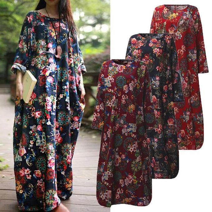 ... ZANZEA Women Maxi Long Dress Vintage Floral Print Dresses Batwing Long Sleeve Pockets Casual Loose Vestidos ...