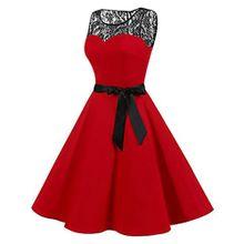 c3482df90bab Huskspo Women Sleeveless Solid Lace Hepburn Vintage Swing High-Waist  Pleated Dress