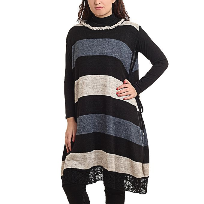 4b7e6758064 Sale on Set Of 2 Tunic Top & Striped Poncho Top - Black & Blue ...