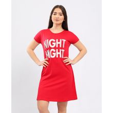 cabb7fdb6816b Printed  quot Night Night quot  Short Sleeves Slip On Nightgown - Red
