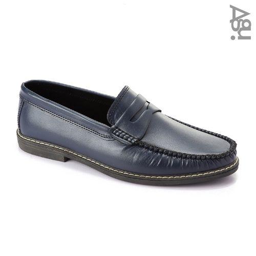 Leather Unique Men Moccasins - Navy Blue