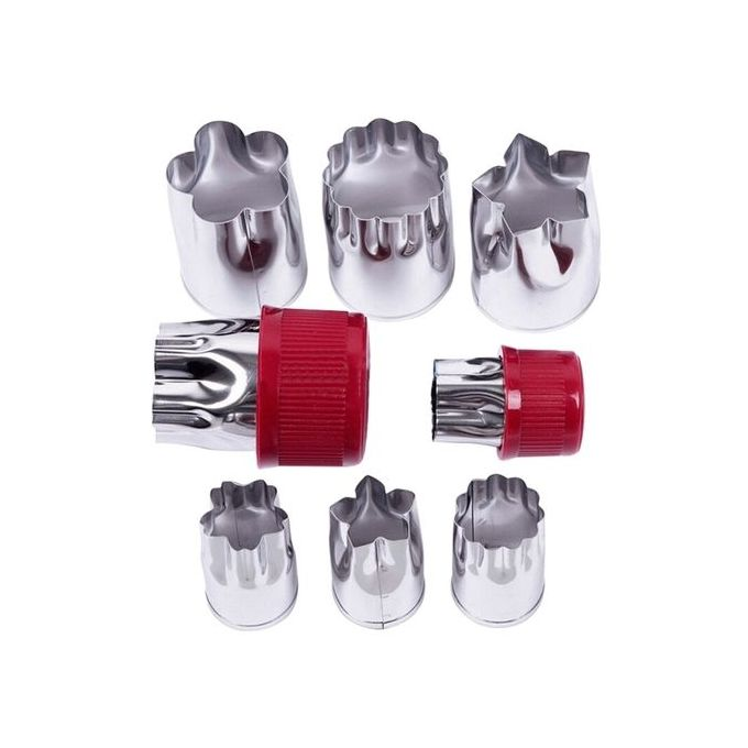 Stainless Steel Mini Shape Vegetable Fruit Cutter Mold 8PCS Color:Flower Red –  مصر