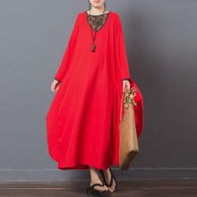 0fde44d0a7 ZANZEA Lady Vintage Vestido Long Sleeve Round Neck Floral Printed Patchwork Kaftan  Ethnic Style Baggy Loose