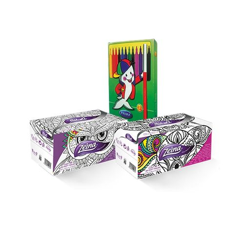 Zeina Color Me - 2 Packs - 1200 Tissues + 12 Prima Colors