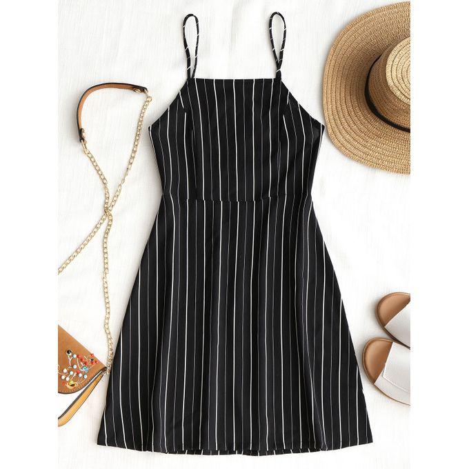 0e7b39e903a Sale on Striped Open Back Drawstring Mini Dress - BLACK
