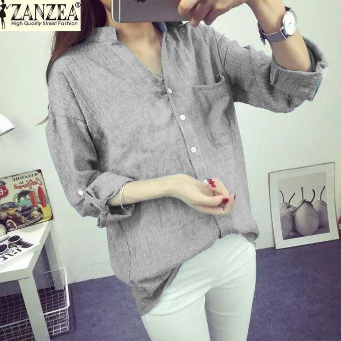 82f8d50b07d4 ZANZEA Korean Style Women Linen Shirts Summer Thin V-Neck Long Sleeve  Blouse Casual Plus