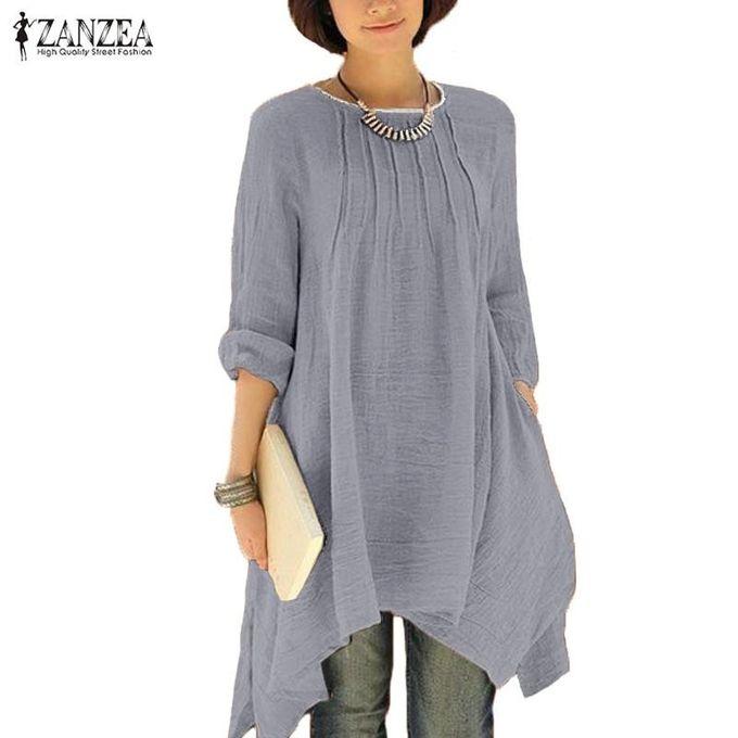 aa80bb3f6fa ... Shirt Blouse Tops (Grey) · 2017 ZANZEA Women Vintage Solid O-Neck  Pleated Long Sleeve Buttons Irregular Hem Casual Loose